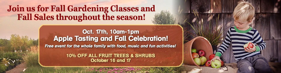 Join us for fall gardening classes and fall sales throughout the season! Click to learn more